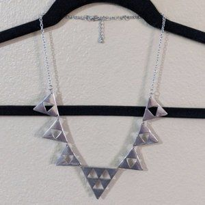 Silver Triangle Geometric Statement Necklace